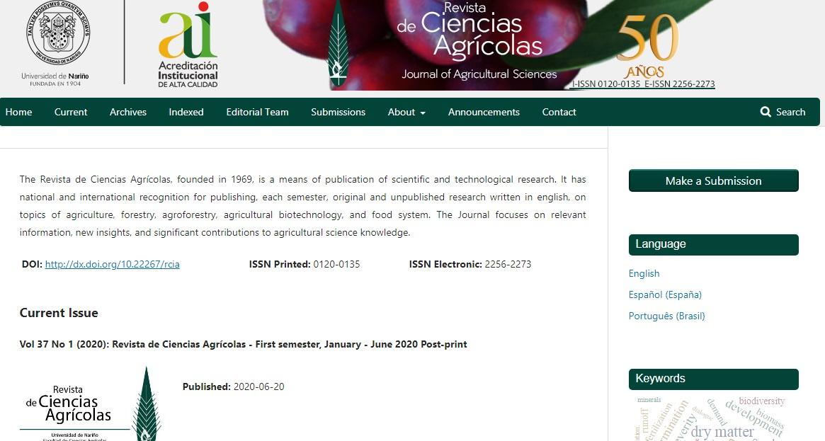 La Revista de Ciencias Agrícolas implementa indicadores de Almetrics