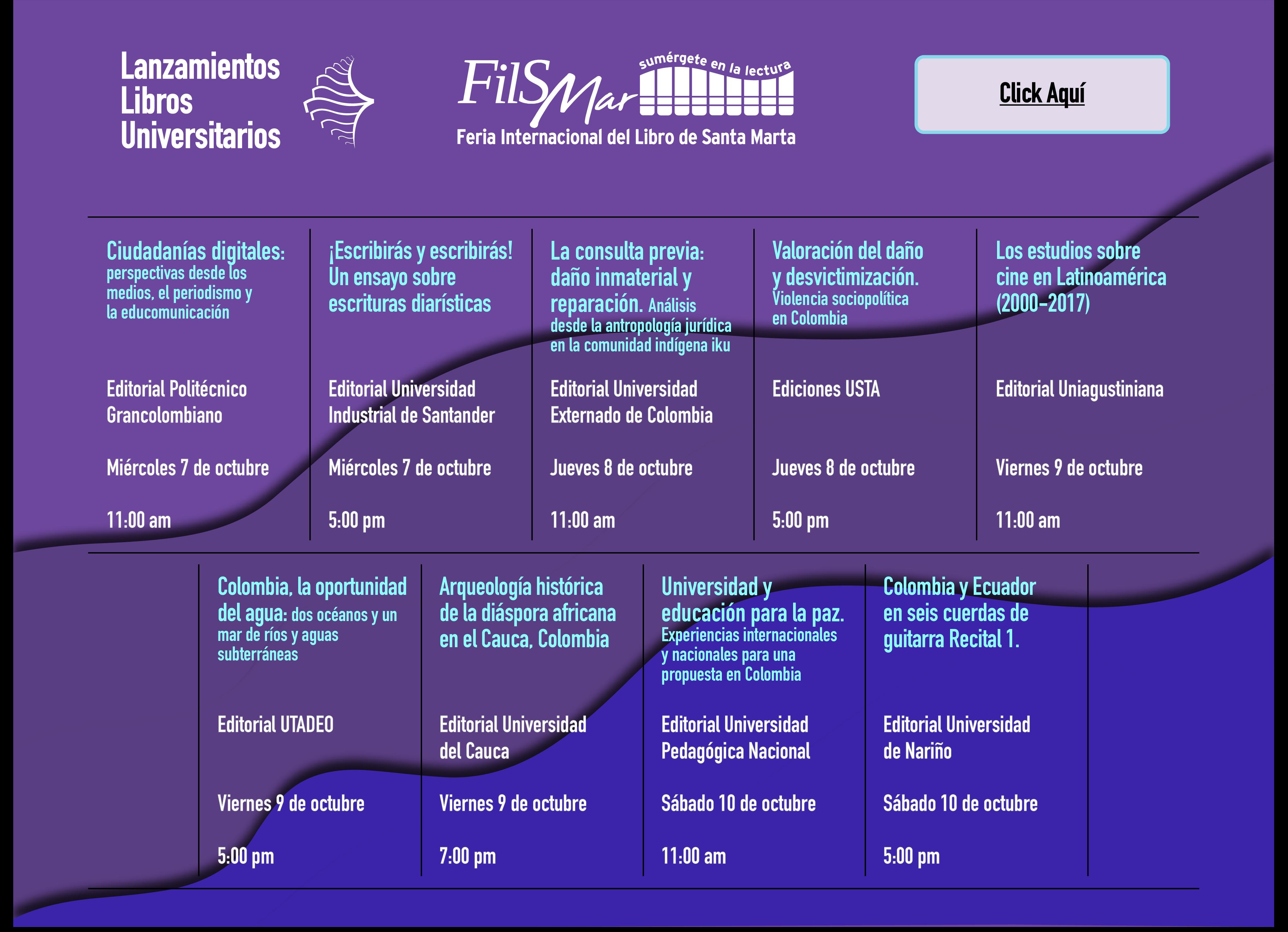 Programación Feria Internacional del Libro de Santa Marta 2020