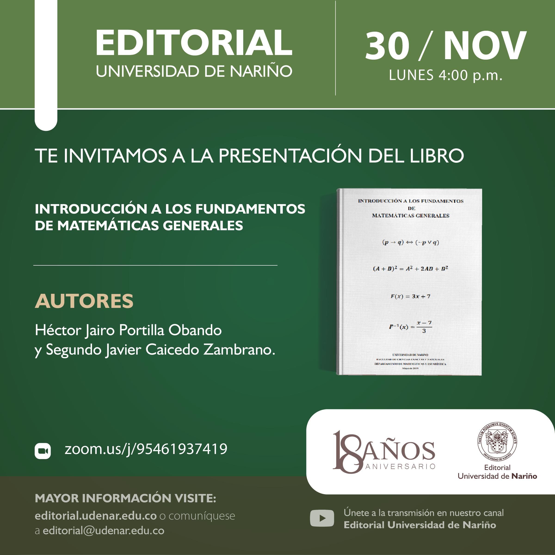 """Lanzamiento libro """"Introducción a los fundamentos de las matemáticas generales"""""""
